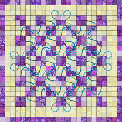 Purple version of the Lucky Four Patch pattern.