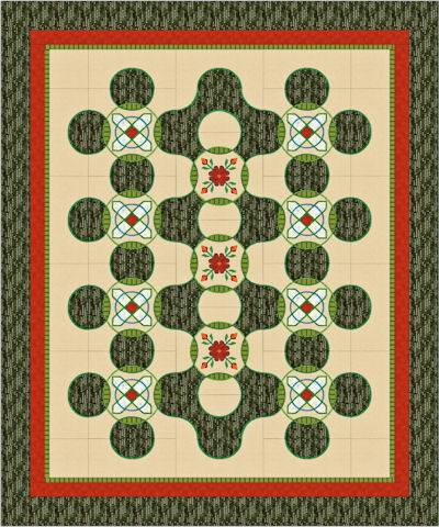 90 x 108 quilt with Triple Celtic Cross blocks