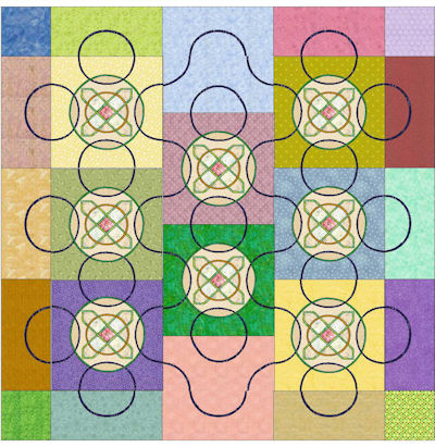 Celtic Cross blocks with many different color backgrounds.