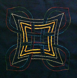 Aine stitched with sashiko and twilling stitches
