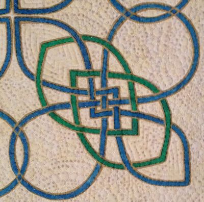 Closeup of one Fire knot showing stenciling and coloring