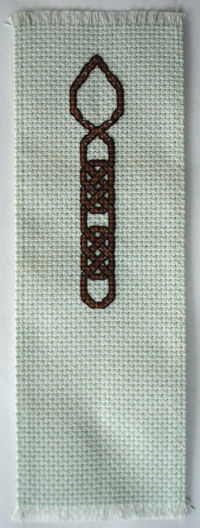 Welsh Love Spoon bookmark, hand cross stitched.