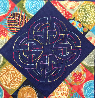 Celtic Block 2 from Laura Hawkins' Sashiko tablerunner